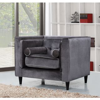 Meridian Taylor Grey Velvet Chair