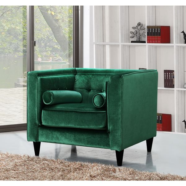 Shop Meridian Taylor Green Velvet Chair Free Shipping