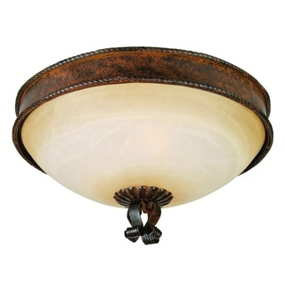 Gianni Bronze Patina Finish with Soft Allure Alabaster Glass 3-light Flush Mount Light Fixture