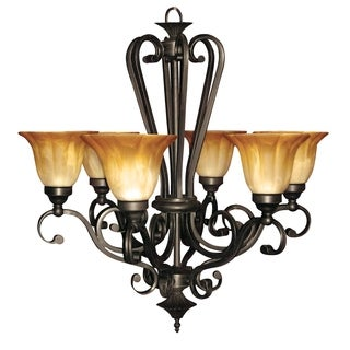 Lucerne Soft Umber Glass 6-light Chandelier Curved Steel Frame