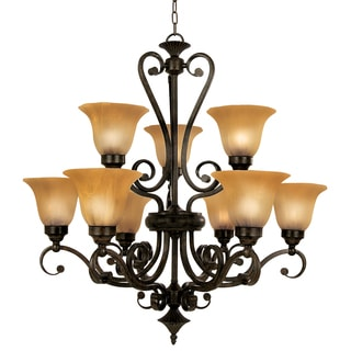 Y-Decor Lucerne Black, Brown Steel, Glass Nine-light Chandelier