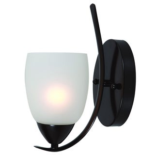 Ann Oil-rubbed Bronze 1-Light Vanity Light Fixture with White Etched Glass