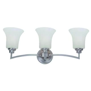 Dallin Satin Nickel Steel 3-light Bathroom Vanity Light Fixtue with White Etched Glass