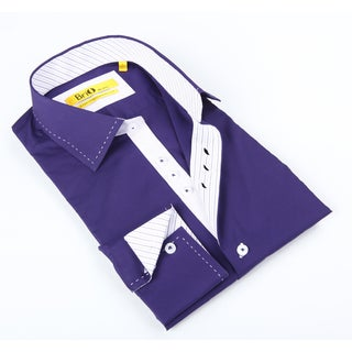 Brio Mens Solid Purple Dress Shirt