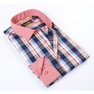 Banana Lemon Classic Blue/ Pink Plaid Button-up Dress Shirt