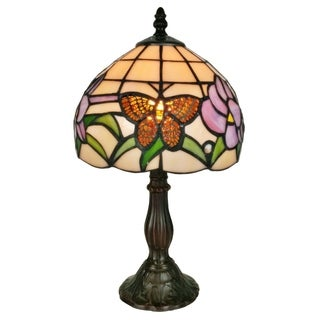 Amora Lighting AM210TL08 Butterfly Floral 8-inch Tiffany-style Table Lamp