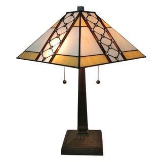 Amora Lighting AM237TL14 Mahogany Art Glass 21-inch Tiffany-style Mission Jeweled Table Lamp