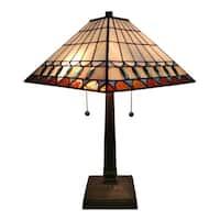 Amora Lighting AM238TL14 Tiffany-style Mission Jeweled Table Lamp