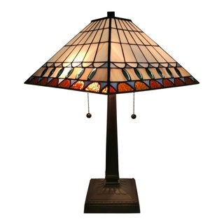 Amora Lighting AM238TL14 Tiffany-style Mission Jeweled Table Lamp