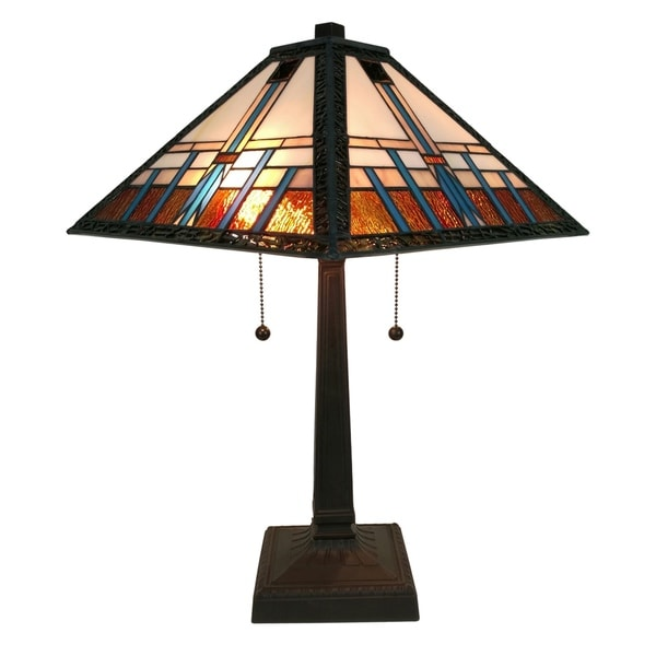 amora lighting am239tl14 tiffany style mission table lamp free. Black Bedroom Furniture Sets. Home Design Ideas