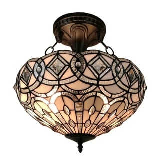 Amora Lighting Tiffany Style Dark Brown Iron Art Glass Semi Flushmount  Ceiling Fixture