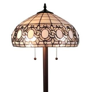 Amora Lighting AM232FL16 Tiffany Style Floral White 62-inch Floor Lamp