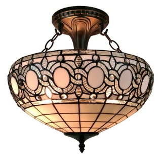 Amora Lighting AM230HL16 Tiffany-style Semi-flush Mount Ceiling Fixture