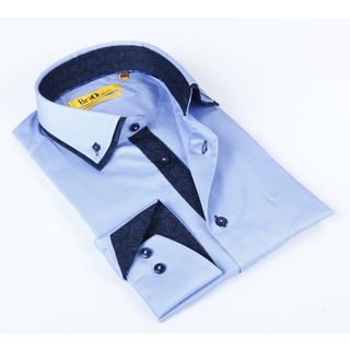 Brio Mens Blue Solid Dress Shirt