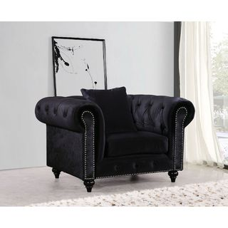 Meridian Chesterfield Black Velvet Chair