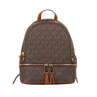 Michael Kors Brown Signature Rhea Zip Small Fashion Backpack