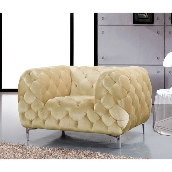 Meridian Mercer Beige Velvet Tufted Chair