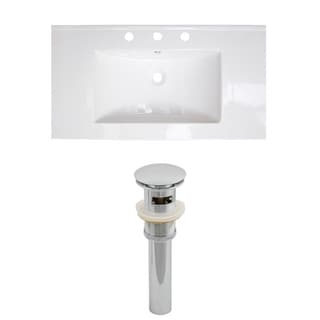 37-in. W x 22-in. D Ceramic Top Set In White Color And Drain