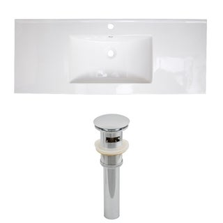 49-in. W x 22-in. D Ceramic Top Set In White Color And Drain