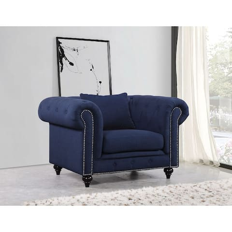 Meridian Chesterfield Blue Tufted Linen Chair