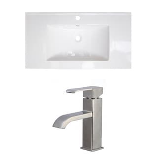 36-in. W x 20-in. D Ceramic Top Set In White Color With Single Hole CUPC Faucet