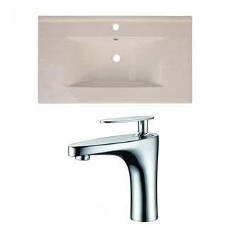 36-in. W x 20-in. D Ceramic Top Set In Biscuit Color With Single Hole CUPC Faucet