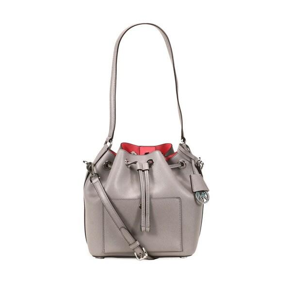 cad217448 Shop Michael Kors Pearl Grey & Coral Greenwich Medium Bucket Handbag ...