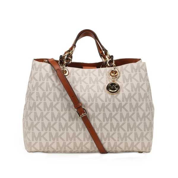6135d5ad7182 ... ebay michael kors vanilla large cynthia logo satchel handbag 4bf91 2855b