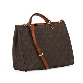 Michael Kors Brown Large Cynthia Logo Satchel Handbag