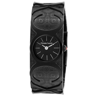 Christian Lacroix Black Mineral/Stainless Steel Watch
