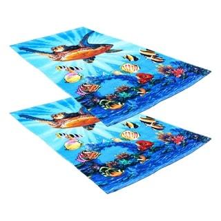 "J & M Home Fashions Underwater Turtle Fiber Reactive 30""""x60"""" Beach Towel (set of 2)"