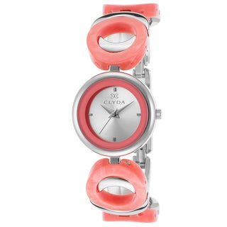 Clyda Ladie's Stainless Steel and Salmon Acetate Rings Watch