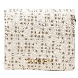 Michael Kors Women's Vanilla PVC Signature Logo Card Case