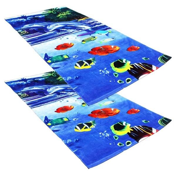 "J & M Home Fashions Dolphins & Fish Fiber Reactive 30""""x60"""" Beach Towels (set of 2)"