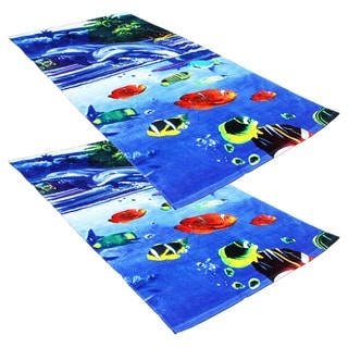 "J & M Home Fashions Dolphins & Fish Fiber Reactive 30""""x60"""" Beach Towels (set of 2)"