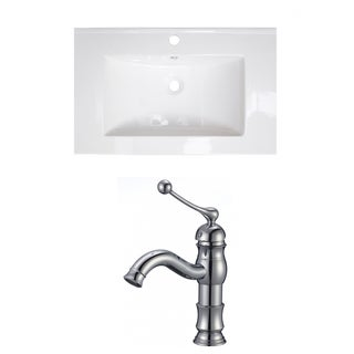 24-in. W x 18-in. D Ceramic Top Set In White Color With Single Hole CUPC Faucet