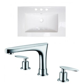 24-in. W x 18-in. D Ceramic Top Set In White Color With 8-in. o.c. CUPC Faucet