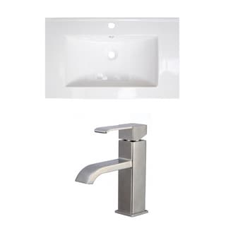 32-in. W x 18-in. D Ceramic Top Set In White Color With Single Hole CUPC Faucet