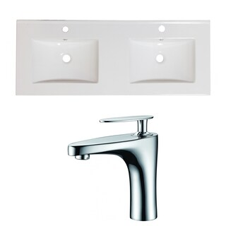 48-in. W x 18-in. D Ceramic Top Set In White Color With Single Hole CUPC Faucet