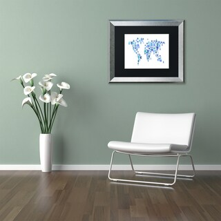 Michael Tompsett 'Robot World Map Blue' Matted Framed Art