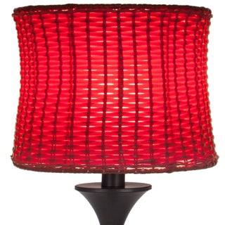 River of Goods Metal/Plastic Outdoor Basketweave Table Lamp (Option: Red)