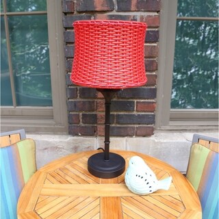 "River of Goods Metal/Plastic Outdoor Basketweave Table Lamp - 12.5L x 12.5""W x 25.25""H"