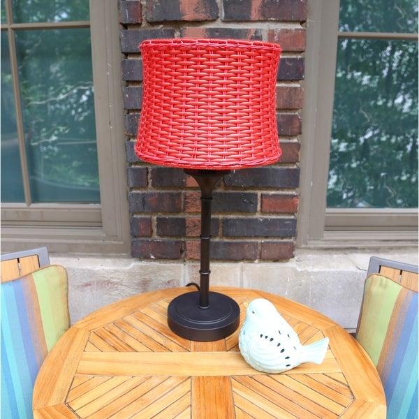 Outdoor Table Lamps For Sale: Shop River Of Goods Metal/Plastic Outdoor Basketweave
