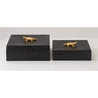 Wood,PVC, and Leather Decorative Box (Set of 2)