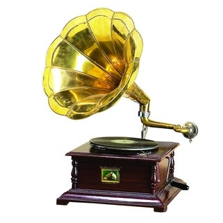 Brown Wood and Metal Gramophone Decor with Musical Blend