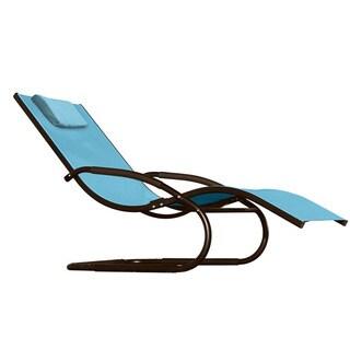 Vivere Sky Blue Acrylic Mesh Black Frame Outdoor Patio Wave Lounger