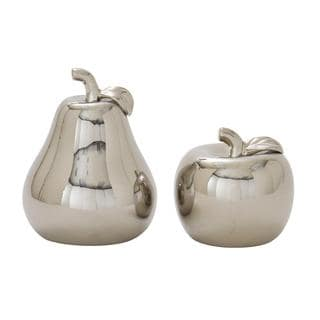 Silvertone Ceramic 7-inch wide x 9-inch high Pear and Apple (Set of 2)