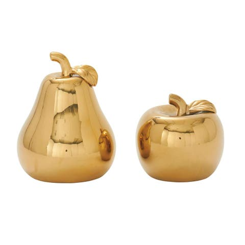 Silver Orchid Miller Gold Ceramic Pear and Apple (Set of 2)