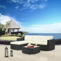 Jicaro 5 Piece Outdoor Wicker Sectional Sofa Set Grey Wicker With Light Blue