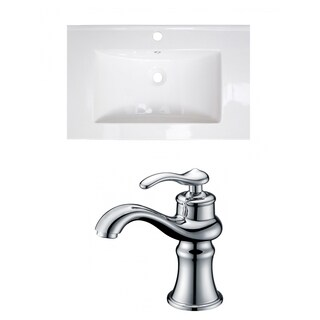 21-in. W x 18-in. D Ceramic Top Set In White Color With Single Hole CUPC Faucet